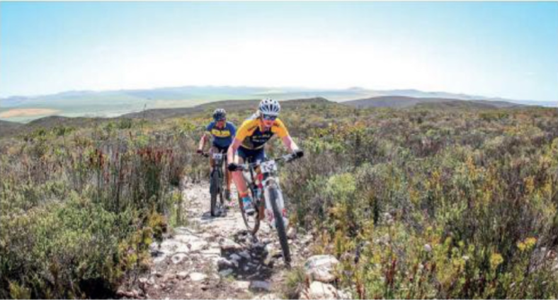 MOUNTAIN BIKER SHARING THE EXPERIENCE