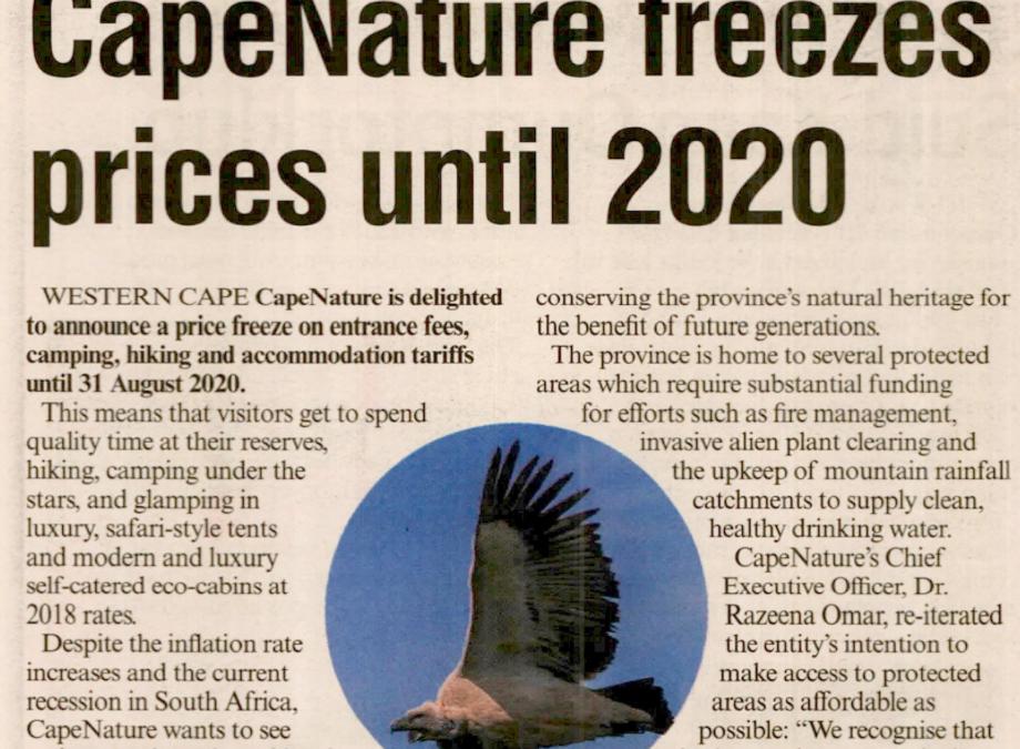 CAPENATURE FREEZES PRICES UNTIL 2020